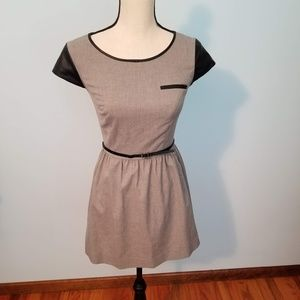 Kensie Gray Dress with Black Belt & Accents